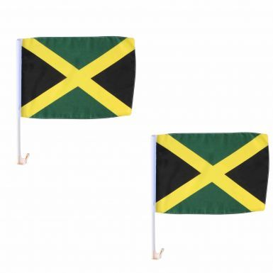 Pair of High Quality National Jamaica Car Flags (40cm x 30cm) for Carnival