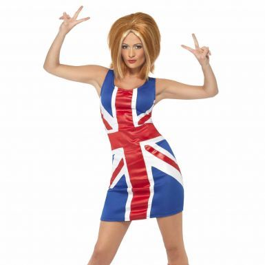 Ladies Union Jack Spice Girls Fitted Dress for Parties or Sporting Events (Sizes S to XL)