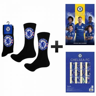 Official Chelsea FC 2019 Soccer Calendar & Socks Gift Set