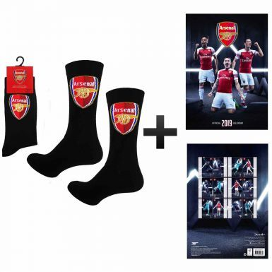 Official Arsenal FC 2019 Calendar & Socks Gift Set
