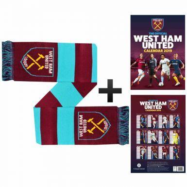 Official West Ham United 2019 Calendar & Scarf Gift Set