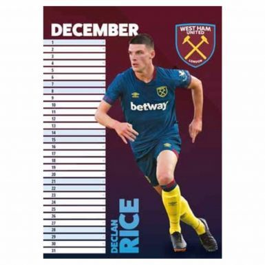 Official West Ham United 2019 Calendar & Scarf Gift Set