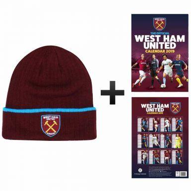 Official West Ham United 2019 Calendar & Bronx Hat Gift Set