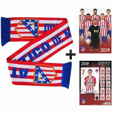 Official Atletico Madrid 2019 Calendar & Scarf Gift Set