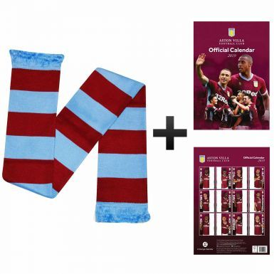Official Aston Villa 2019 Calendar (A3) & Bar Scarf Gift Set
