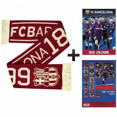 Official FC Barcelona 2019 Calendar & Scarf Gift Set