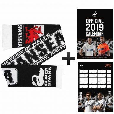 Swansea City 2019 Calendar & Scarf Gift Set