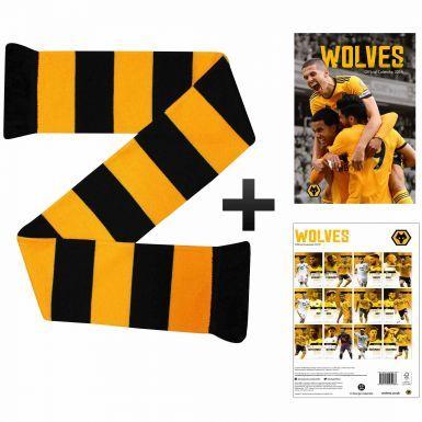 Wolverhampton Wanderers (Wolves) 2019 Calendar & Scarf Gift Set