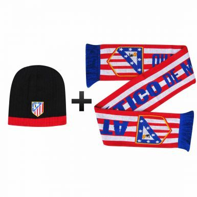 Atletico Madrid Soccer Crest Scarf & Beanie Hat Winter Warmers Set