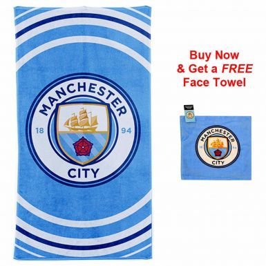 Manchester City Crest Towel & Free Face Towel