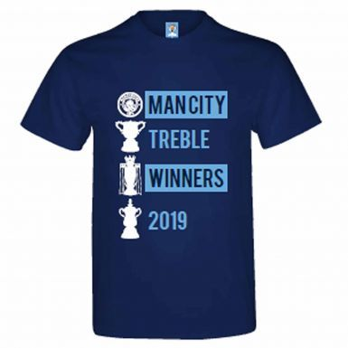 Official Manchester City Treble Winners 2019 & Champions T-Shirt (100% Cotton)