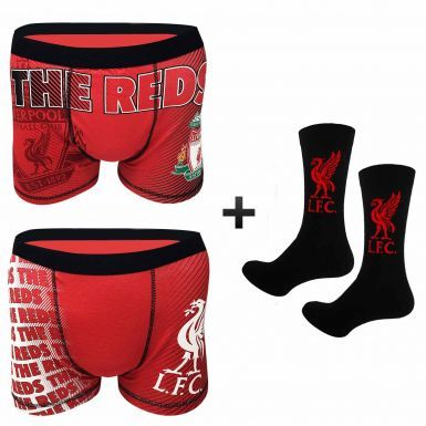 Official Adults Liverpool FC Boxer Shorts (Twin Pack) & Socks Gift Set