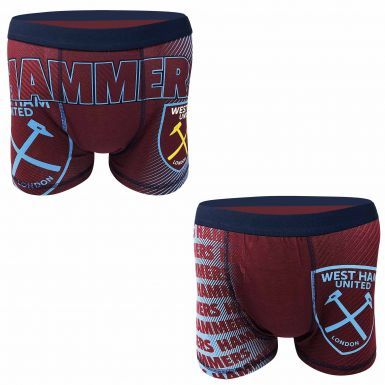Official Adults West Ham United Boxer Shorts (Twin Pack) Gift Set