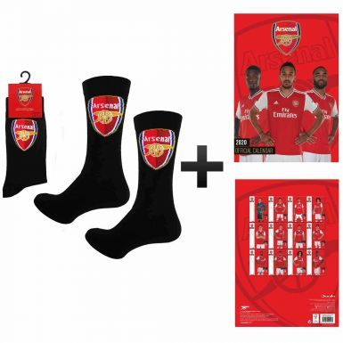 Official Arsenal FC 2020 Calendar & Socks Gift Set