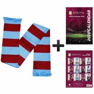Official Aston Villa 2020 Calendar (A3) & Bar Scarf Gift Set