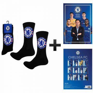 Official Chelsea FC 2020 Soccer Calendar & Socks Gift Set