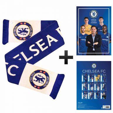 Official Chelsea FC 2020 Calendar & Crest Scarf Gift Set