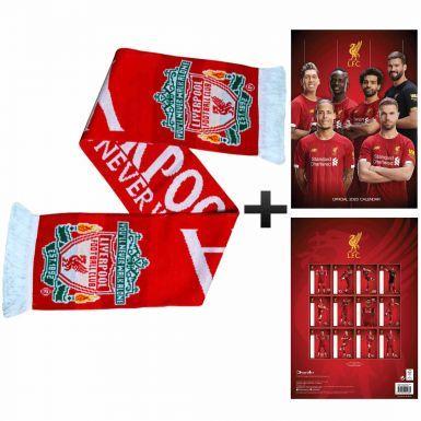 Official Liverpool FC 2020 Calendar & Scarf Gift Set
