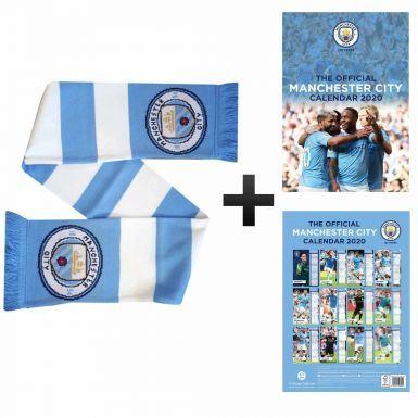 Official Manchester City 2020 Calendar & Bar Scarf Gift Set