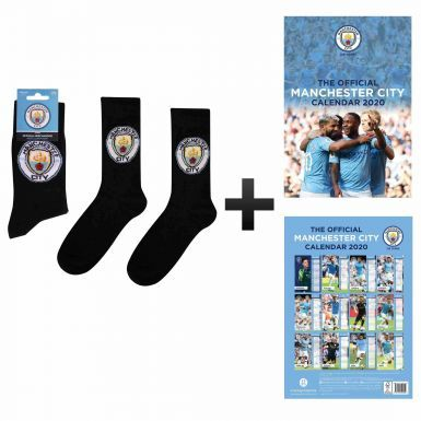 Official Manchester City 2020 Calendar & Socks Gift Set
