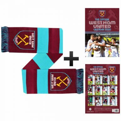Official West Ham United 2020 Calendar & Scarf Gift Set
