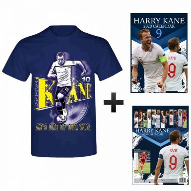 Harry Kane 2020 Calendar (A3) & T-Shirt Gift Set