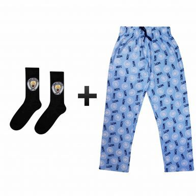 Official Adults Manchester City Lounge Pants & Socks Gift Set