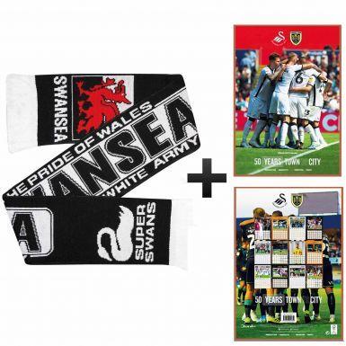 Official Swansea City 2020 Calendar & Scarf Gift Set