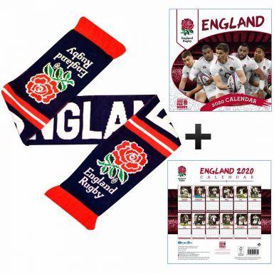 Official England Rugby RFU 2020 Calendar & Scarf Gift Set