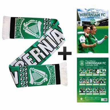 Official Hibernian FC 2020 Calendar & Scarf Gift Set