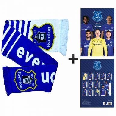 Official Everton FC 2020 Calendar & Fans Scarf Gift Set
