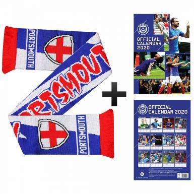 Official Portsmouth FC 2020 Football Calendar & Scarf Gift Set