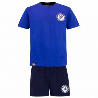 Official Adults Chelsea FC Crest Adults Pyjamas & Lounge Shorts Set (100% Cotton)