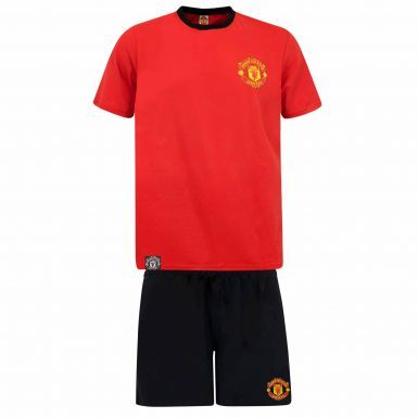 Official Adults Manchester United Crest Adults Pyjamas & Lounge Shorts Set (100% Cotton)