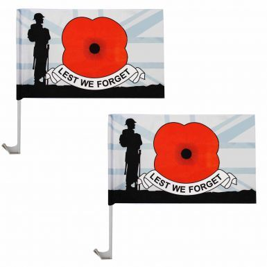 Pair of Lest We Forget Poppy Remembrance Car Flags