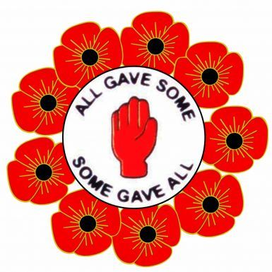 Poppy & Northern Ireland Red Hand Remembrance Pin Badge