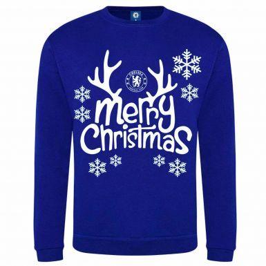 Official Chelsea FC (Premier League) Christmas Snowflake Sweatshirt