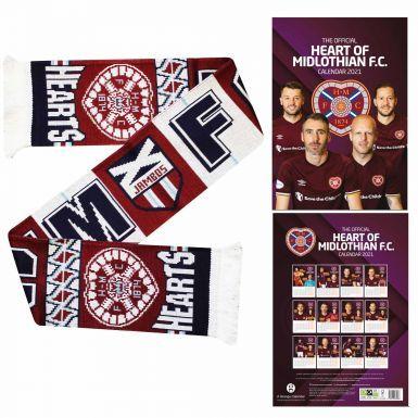 Official Hearts FC 2021 Calendar & Scarf Gift Set