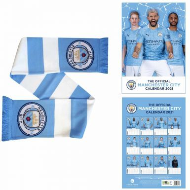 Official Manchester City 2021 Calendar & Bar Scarf Gift Set