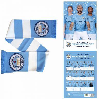 Official Manchester City 2021 Calendar & Bar Scarf Gift Set