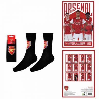 Official Arsenal FC 2021 Calendar & Socks Gift Set