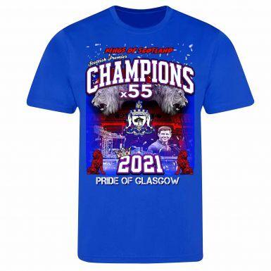 Rangers 2021 Scottish Champions T-Shirt  (100% Cotton & Sizes S to 4XL)