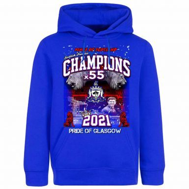 Rangers 2021 Scottish Champions Hoodie With Pockets  (Adult Sizes S to 4XL)