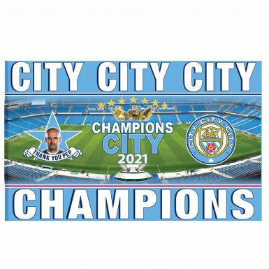 Giant Manchester City 2021 Champions Flag (5ft x 3ft)