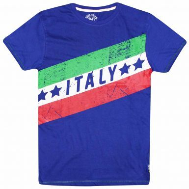 Italy Flag Football Fans T-Shirt (100% Cotton)
