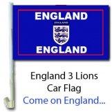 England 3 Lions Car Flag