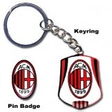 AC Milan Crest Keyring & Pin Badge Set