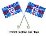 England 3 Lions Crest Car Flags