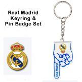 Real Madrid Keyring & Pin Badge Set