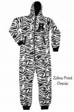 Ladies Zebra Print Fleece Onesie